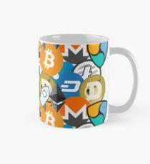 Cryptocurrency Collage Bitcoin Ripple Ethereum Litecoin, NEM, Dash, Monero, Stellar Lumens, Steem Mug