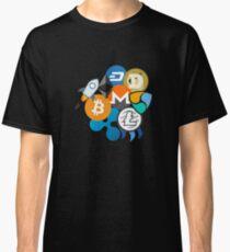 Bitcoin, Ripple, Ethereum, Litecoin, NEM, Dash, Monero, Stellar Lumens, Steem, Cryptocurrency,  Classic T-Shirt