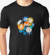 Bitcoin, Ripple, Ethereum, Litecoin, NEM, Dash, Monero, Stellar Lumens, Steem, Cryptocurrency,  T-Shirt