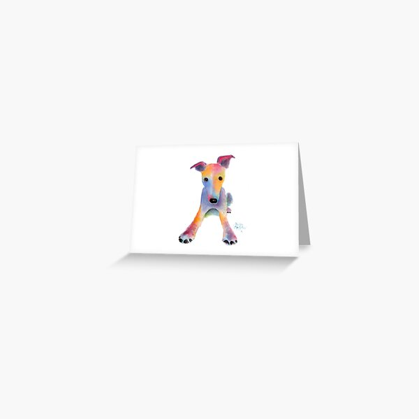 Whippet / Greyhound ' TOOTY FRUITY ' by Shirley MacArthur Greeting Card