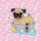 Pug Girl Bath Time by purplesensation