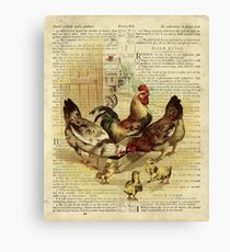Vintage Chicken on Psalm 32 Canvas Print