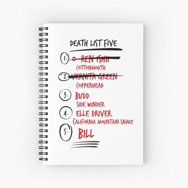 Kill Bill -- The Brides Death List 5 Spiral Notebook