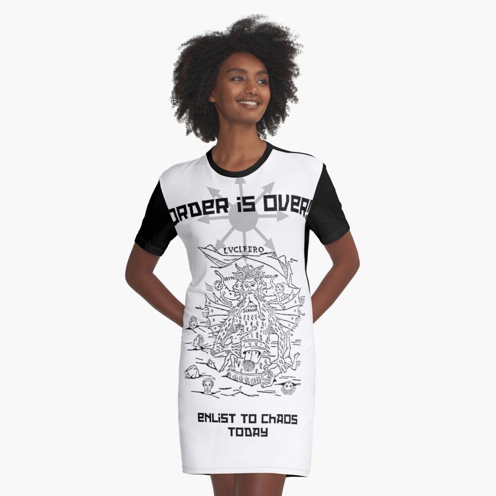 Enlist to Chaos Graphic T-Shirt Dress Front
