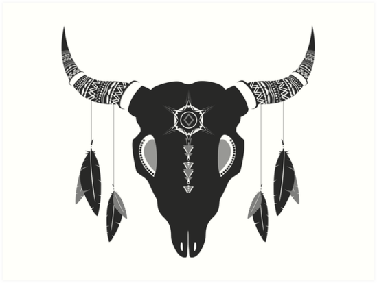 bohemian cattle skull by MellowGroove