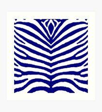 Marineblaue und weiße Zebra-Tiersafari-Streifen Kunstdruck