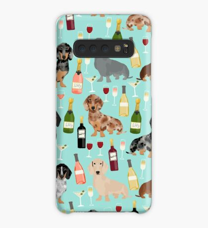 Dachshund wine pattern cute gifts for dog lovers dachsie doxie patterns Case/Skin for Samsung Galaxy