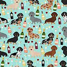 Dachshund wine pattern cute gifts for dog lovers dachsie doxie patterns by PetFriendly
