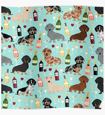 Dachshund wine pattern cute gifts for dog lovers dachsie doxie patterns Poster
