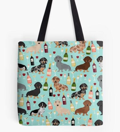 Dachshund wine pattern cute gifts for dog lovers dachsie doxie patterns Tote Bag