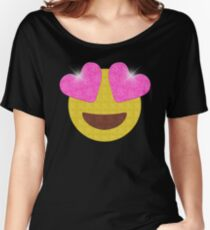 Sparkling Heart Eyes Emoji Women's Relaxed Fit T-Shirt