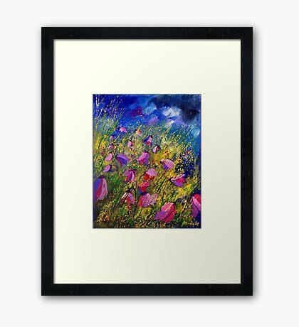 purple wild bellflowers Framed Print