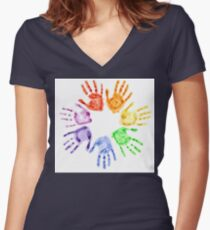 Rainbow watercolor hand prints Women's Fitted V-Neck T-Shirt