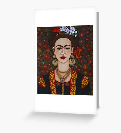 Frida with butterflies Greeting Card