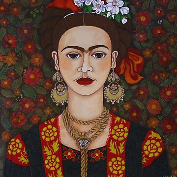 Frida with butterflies by madalenalobaote