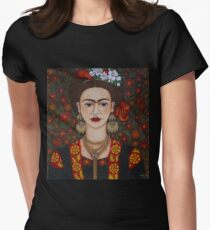 Frida with butterflies Women's Fitted T-Shirt