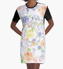 Blumenstrauß aus Orange und Blau Rose - Kranz T-Shirt Kleid