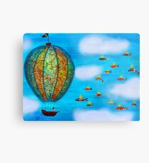 Pirate Hot Air Balloon with Flying Fish Metal Print