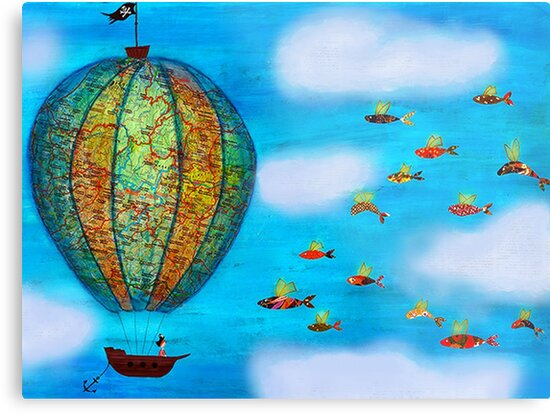 Pirate Hot Air Balloon with Flying Fish by Sukilopi