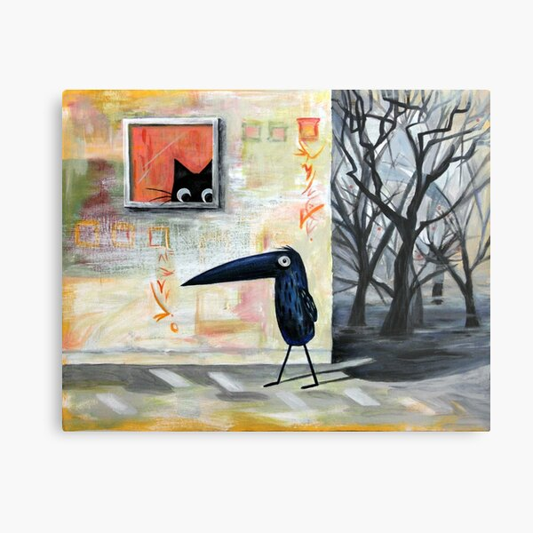 Cat and Bird Metal Print
