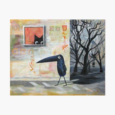 Cat and Bird Art Board Print