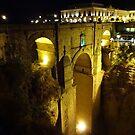 Ronda bridge at night by Fay  Hughes