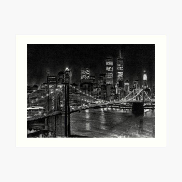 Brooklyn Bridge New York Pencil Drawing Art Print