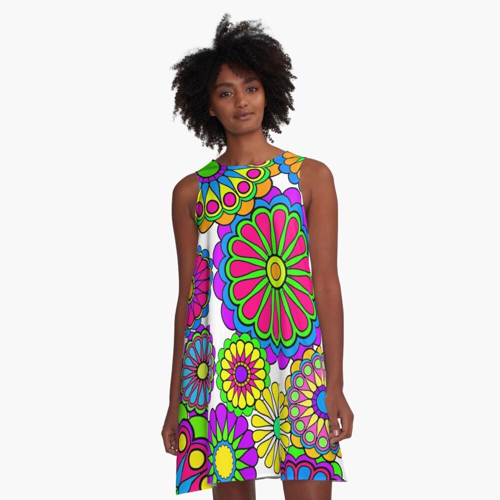Glückliche Hippie-Blumen A-Linien Kleid
