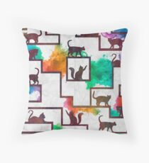 Streets Of Cats Throw Pillow