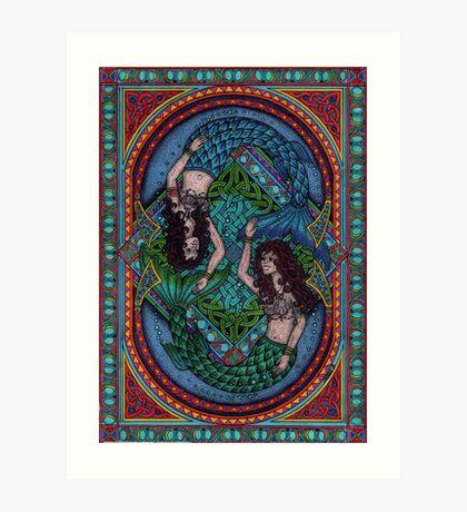 Celtic mermaids Art Print