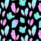 Pastel Watercolor Crystals // Black by nikury