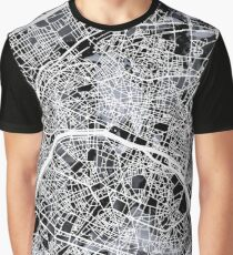 Paris Map b&w Graphic T-Shirt