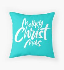 Christian Christmas Lettering - Merry Christ Mas - Religious - Fashionable Tiffany Aqua Blue Throw Pillow