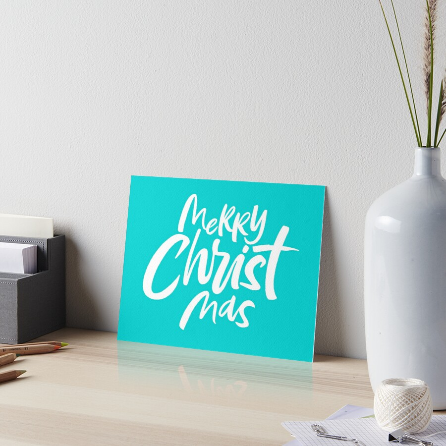 Merry CHRIST Mas - Teal - Religious Christian Christmas Lettering Blue Aqua by 26-Characters