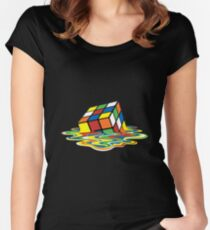 Melted Rubiks Cube  Women's Fitted Scoop T-Shirt