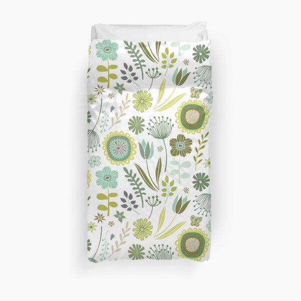 Meadow - Springtime, green and white - pretty floral pattern by Cecca Designs Duvet Cover