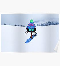 Snowboarding Cat Poster