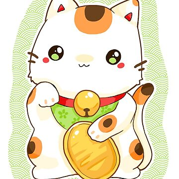 Green manekineko cute japan lucky cat by linkitty