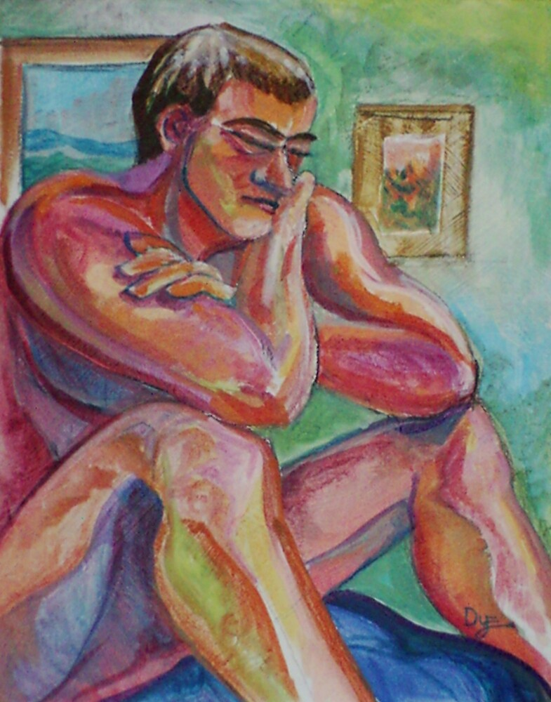 Seated Male Nude Figure (Acrylics)- by Robert Dye