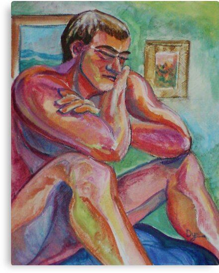 Seated Male Nude Figure (Acrylics)- by Robert Dye