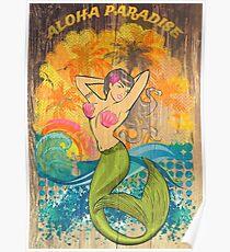Aloha Paradise Retro Wood Poster