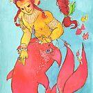 MerMay Red Braided Merman with Pearl Watercolor by SimplyKitt