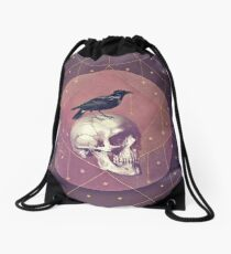 Crow and Skull Collage Drawstring Bag