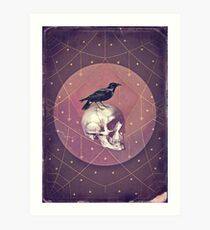 Crow and Skull Collage Art Print