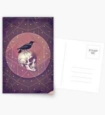 Crow and Skull Collage Postcards