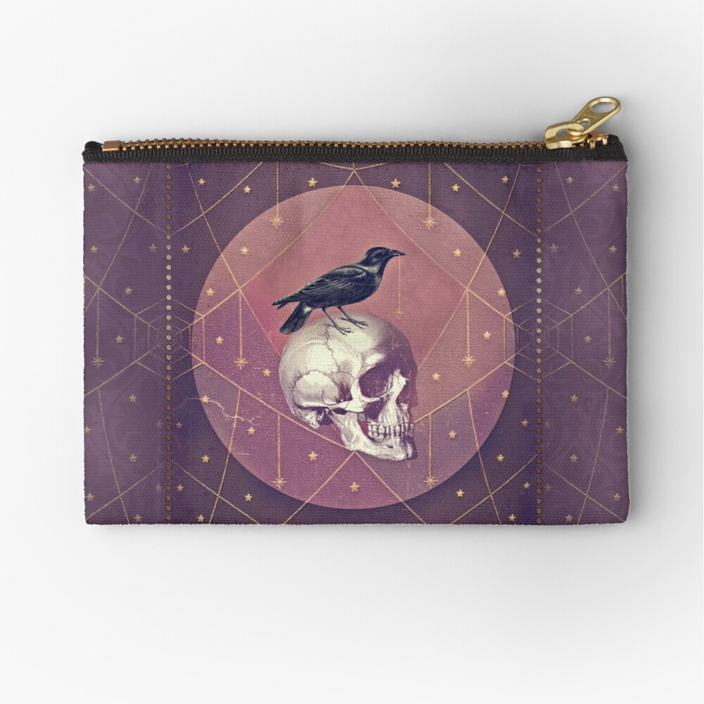 Crow and Skull Collage Zipper Pouch