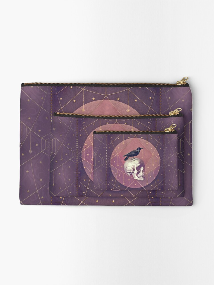 Alternate view of Crow and Skull Collage Zipper Pouch