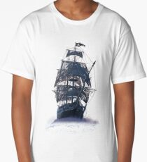 Ghost Pirate Ship at Night Long T-Shirt