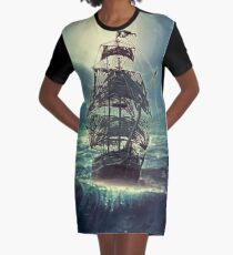 Ghost Pirate Ship at Night Graphic T-Shirt Dress