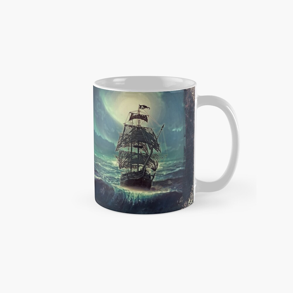 Ghost Pirate Ship at Night Tazas